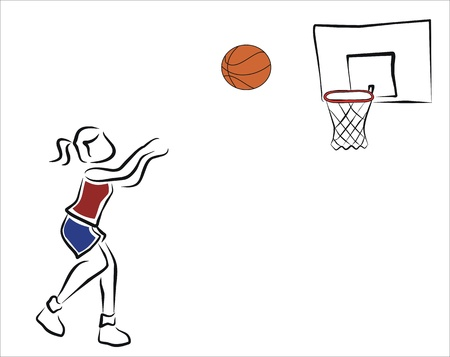girl, jouer, basket-ball, lancer la balle
