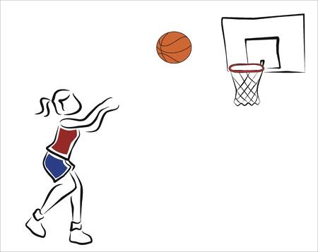 ball point: girl playing basketball, throwing the ball