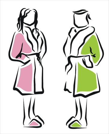 man and woman with comfortable bathrobes Stock Vector - 11218424