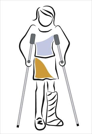 핸디캡: 석고 여자가 목발로 걷기