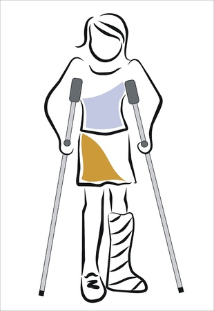 accident woman: plaster woman walking with crutches Illustration