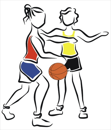 women playing a basketball game