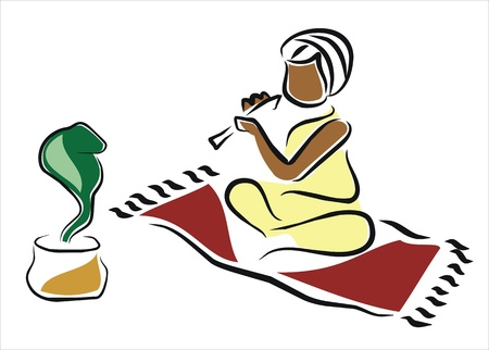 snake charmer in india Stock Vector - 11369331