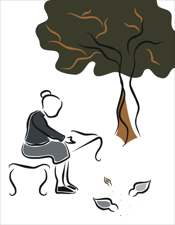 slowness: old woman giving bread to the birds in the park Illustration