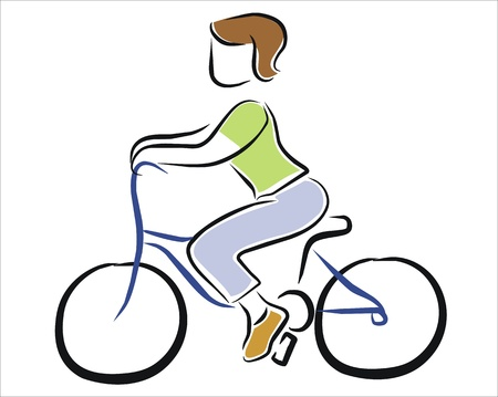 woman riding a bicycle Stock Vector - 11369337