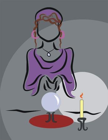 fortune teller: fortune teller consulting crystal ball Illustration