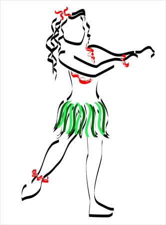 girl dancing in Hawaii Hawaiian dance Vector