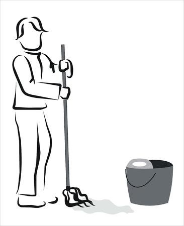 seau d eau: l'homme de passer la serpilli�re � la maison