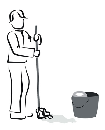 wet cleaning: man mopping the floor at home