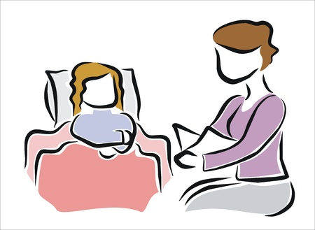 narrate: mother reading a story to her daughter in bed before sleep Illustration