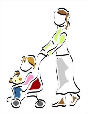 woman walking her daughter in the park Illustration