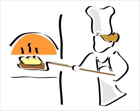 bonnet illustration: baker heating the bread in the oven Illustration
