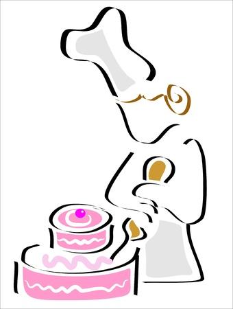 cake decorating: pasteler�a decoraci�n de la torta con la crema Vectores