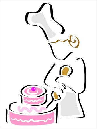 pastry decorating the cake with cream Stock Vector - 12884224