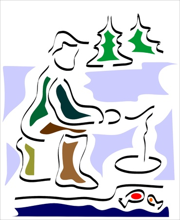 ice fishing: fisherman fishing in a hole in the ice Illustration