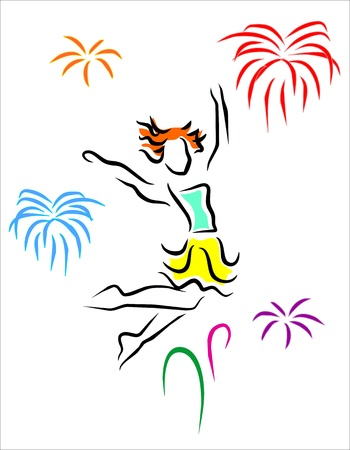 happy jumping girl with fireworks in the background Stock Vector - 12884248