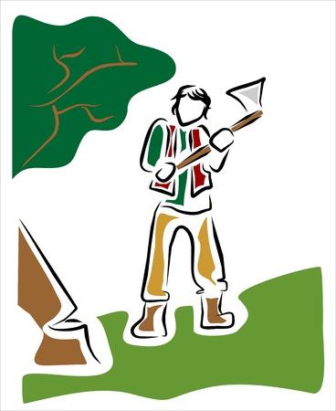leñador: leñador cortando un árbol en el bosque Vectores