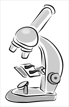 microscopisch: optische microscoop gebruikt in laboratoria Stock Illustratie