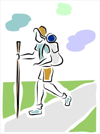 man hiking: hiker walking in country enjoying nature Illustration