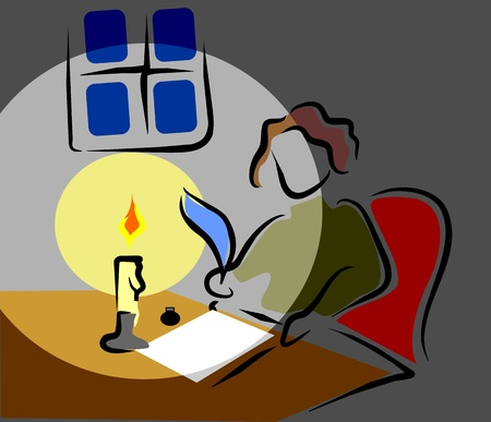 writer writing a book in solitude Illustration