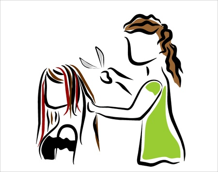 girl at the hairdresser cutting hair Vector