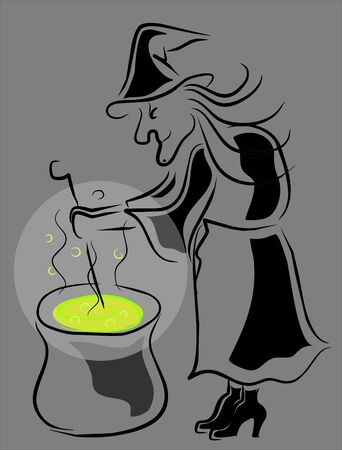 witch preparing a potion Stock Vector - 12884272