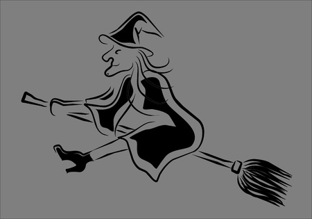 esotericism: witch flying on her broom