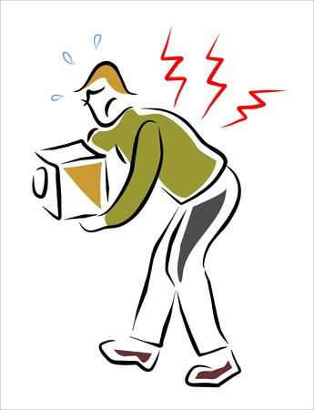 lesiones: el hombre con dolor de espalda y el gesto dolorido Vectores
