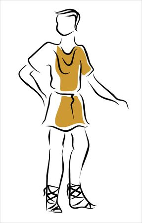 roman with short tunic and sandals Stock Vector - 12884263