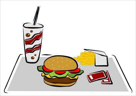 food tray: a hamburger with chips and soft drink