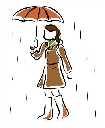woman walking in the rain with an umbrella Vector