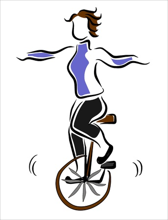 girl balancing on a unicycle Vector
