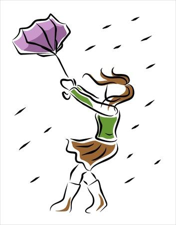 le vent porte un parapluie sous la pluie Vecteurs