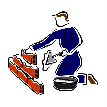 mason: mason working on construction site Illustration