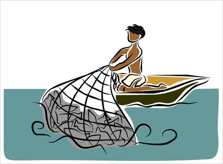 fisherman boat: man fishing in the sea