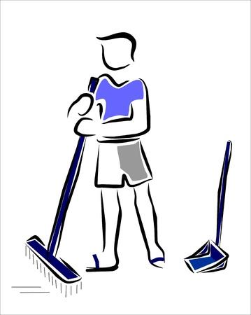 dustpan: man sweeping the floor
