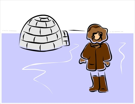 igloo: eskimo in front of his igloo in the arctic