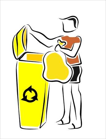 botes de basura: hombre de la basura en el cubo de reciclaje de la derecha