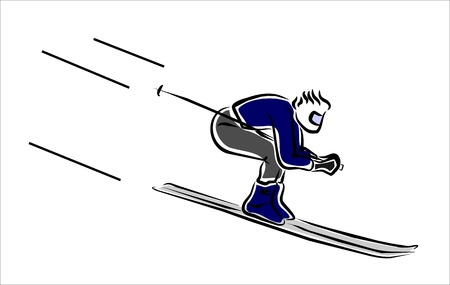 skier descending very fast in a competition Illustration