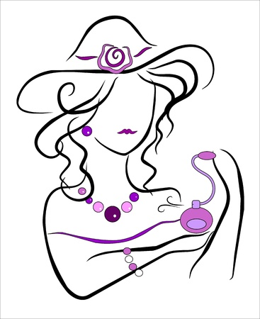 drawing of a woman with jewelry and perfume