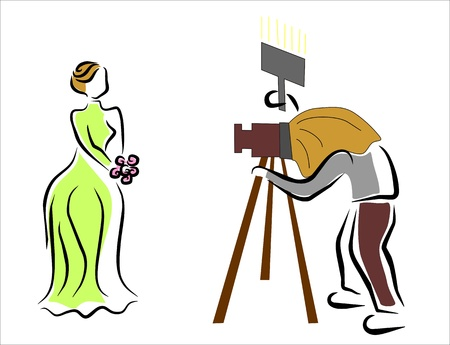 photographer photographing a woman Stock Vector - 14657612