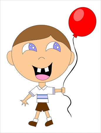 minor: child playing with a balloon Illustration