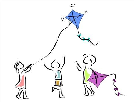 fly up: children playing with a kite Illustration