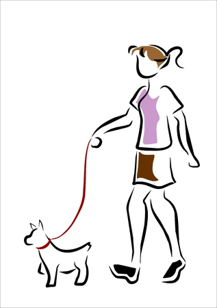 dog walk: girl walking with her dog Illustration