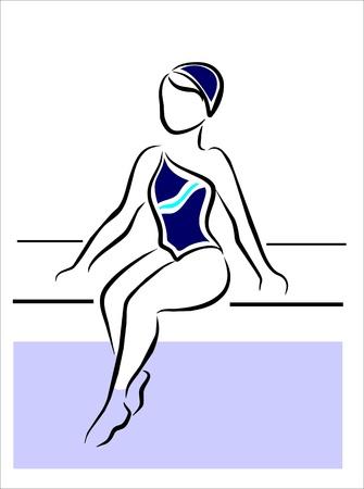 piscina olimpica: muchacha que se sienta en el borde de la piscina