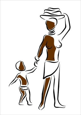 nudity: woman and child in africa