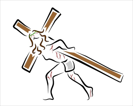 jesus christ carrying the cross of wood Illustration
