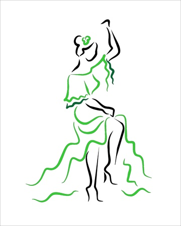 andalusien: Sevillas Frau tanzen Illustration