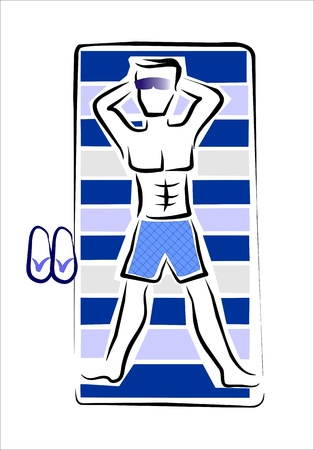 lie down: man sunbathing on the beach Illustration