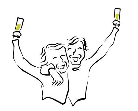 positivismo: Dos amigos felices que celebran la alegr�a